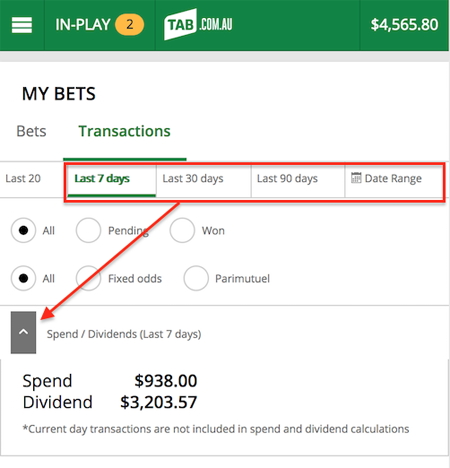 Viewing your betting history and pending bets